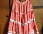 1950s Coral Pink Patio Western Squaw Skirt