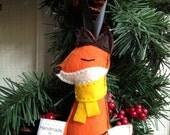 Sleepy Little Fox Handmade Felt Ornament - Yellow Scarf