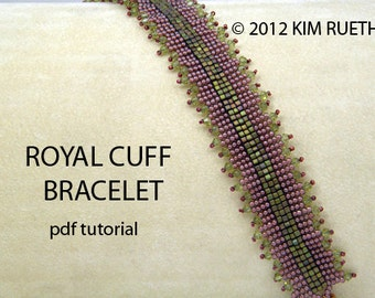 Beading Tutorial for Royal Cuff Bracelet with 1.8mm cube beads, crystals, and seed beads