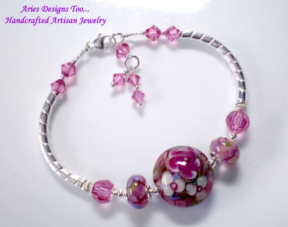 Fucshia & Pink Floral Lampwork Bangle Bracelet ,Floral Lampwork Bangle Bracelet,Sterling Silver Bangle Bracelet