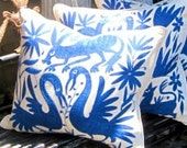 """DEEP ROYAL BLUE Otomi Embroidered Pillow Cover 20"""" x 20"""" Free Shipping"""