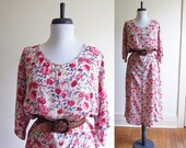 Vintage 1990s Dress / Rose Floral Gauze Rayon Boho Maxi Dress / Size XL Extra Large Plus Size