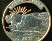 North Dakota Gold Plated Hand Cut Coin Jewelry