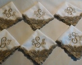 Beige and White Embroidered Lace Handkerchief