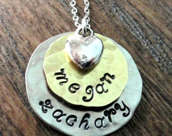 Hand stamped Jewelry,  mixed metals, Two Layered discs with the names of your children and topped with a heart charm...customize today