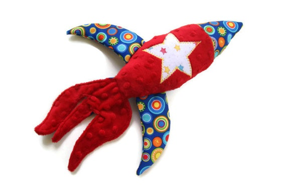 Rocket Ship, Security Blanket Lovey, Space Shuttle, Soft Baby Boy Toy, Red Minky Lovie, Baby Shower Gift, Outerspace Decor, READY TO SHIP