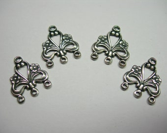 Silver Plated Victorian Filigree Earring Drops Chandelier Stampings