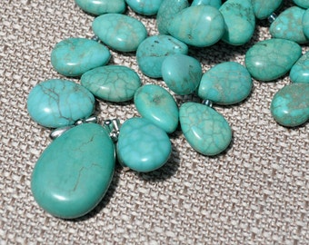 Island Paradise Blue Green Turquoise Howlite Briolette Chunky Necklace