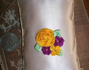 1 french antique silk Ribbon work piece in antique gold, purple and green