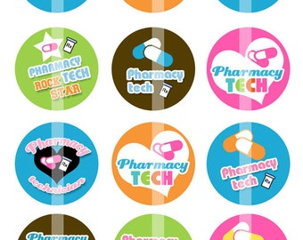 Pharmacy Tech - 1 Inch Round - Digital Collage Sheet for making Bottle Cap Pendants,  Cupcake toppers, and more - Instant Download
