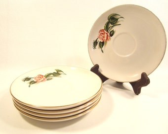 5 Vintage Knowles China Moss Rose Saucers