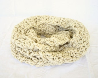 Crochet cowl aran infinity scarf thick bulky off white light tan circle scarf neutral winter fashion soft accessory wide natural warm
