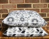 SALE ~ Decorative Pillow Cover: Designer Suzani 18 X 18 Accent Throw Pillow Cover in Gray and White