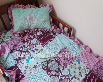 Custom You Choose Fabrics 2 Peice Toddler Bedding or Bumperless crib bedding - Patchwork Blanket, Personalized Pillow