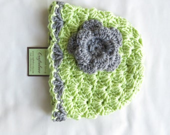 Crochet baby hat- Baby Girl Hats - Baby Girl Beanie - Soft Fern green/Grey shell baby girl hat with flower - Photography props