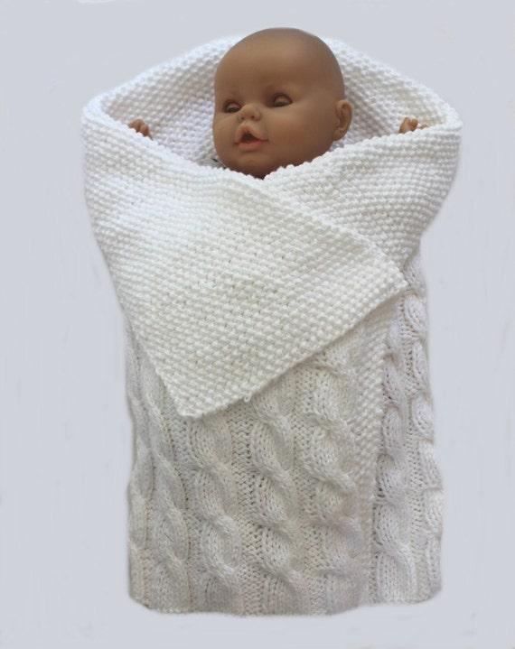baby KNITTING PATTERN Swaddle Me Baby Bunting Blanket PDF