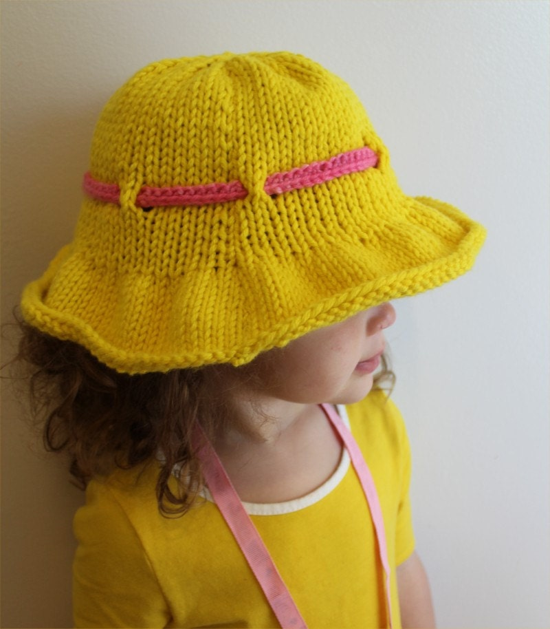 Knitting Pattern For Baby Summer Hats : Knitting PATTERN Sun Brimmed Hat PDF infant adult