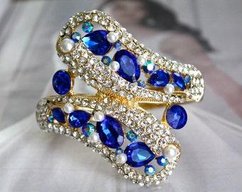 Blue Bracelet, Gold Wedding Bracelet, Gold Bridal Bracelet, Vintage Style Rhinestone Bracelet, Bridesmaids Jewelry, Hinged Bangle Bracelet