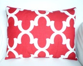Red Lumbar Pillow Cover, Decorative Throw Pillows, Cushions Red Off White Fynn Moroccan, Red Cushion, Couch Bed Sofa, One 12 x 16 or 12 x 18