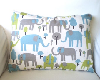 Elephant Lumbar Pillow Cover, Nursery Pillow, Cushions, Gray Aqua Green on Natural Cream Grey Baby Nursery Chair, One 12 x 16 or 12 x 18