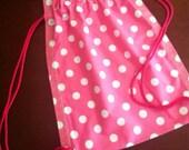 Drawstring Bag Backpack Pink Polka Dot Other Colors Available