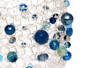 blue agate bracelet silver cuff bracelet statement jewelry wire mesh arm cuff bright blue tropical aqua pearl crystal fashion jewelry