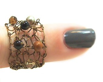 Copper Brown Stone Ring Wire Mesh Ring Funky Knit Wire Ring Sparkling Crystal Stone Pearl Lapisbeach