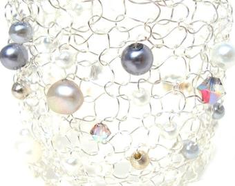 Contemporary Pearl Wedding Bracelet Silver White Pearl Bridal Jewelry Wire Mesh Cuff Bracelet Modern Bride