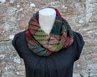 knitted scarf, infinity lace scarf, multicolour scarf, red/brown, neckwear, gift for her, scarf uk