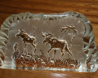 Swedish Art Glass Moose in Woods Wildlife Series Etched Carved Glass Crystal