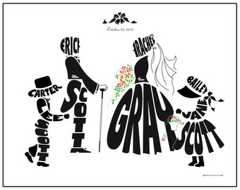 Personalized Blended Family Wedding Silhouette Print, Bride and Groom with Children, Flower Girl Ring Bearer