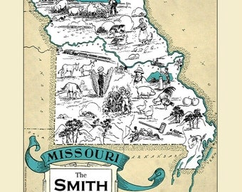 custom missouri map vintage map of missouri personalized wedding gift housewarming gift missouri home decor wall - Home Decor St Louis Mo