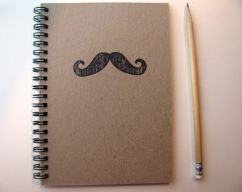 Mustache hand stamped chipboard notebook- 5 x 7 inches