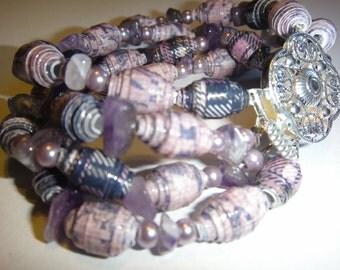 Bracelet, Purple Paper Beaded