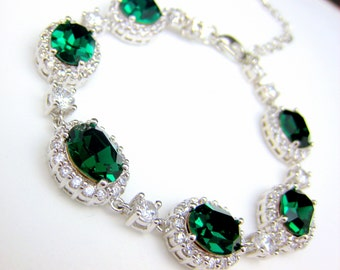 bridesmaid jewelry bracelet bridal wedding bracelet christmas party gift swarovski rhinestone oval emerald green cubic zirconia bracelet
