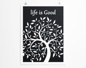 Black Chalkboard Backround , Life is Good Print - MILKANDPAPER