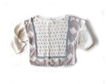 vintage sweater 1980s pastel colors geometric oversized size small s medium m