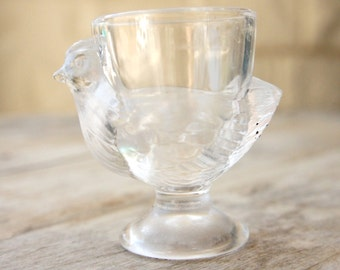 Vintage 60s-70s Glass Chicken Egg Cup Retro mid century