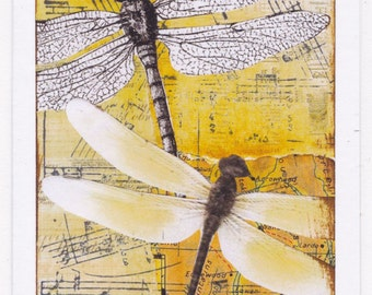 Note / greeting card - Dragonflies (print of original mixed media collage)