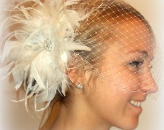 Wedding Feather Bridal Hair Fascinator and Bandeau French Net Bridal Veil,  feather fascinator white or ivory
