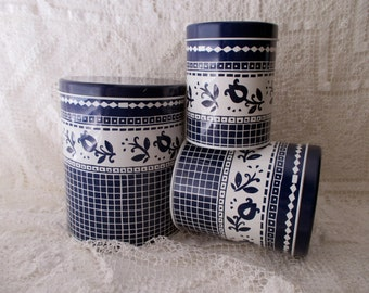 3 Vintage Blue and White Canister TINS- Regency Ware, Made in England