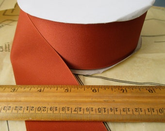"roll of 2 1/4"" rust grosgrain ribbon - 50 yards, polyester, made in USA"