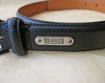 Ralph Lauren Leather Belt - navy blue,  size small