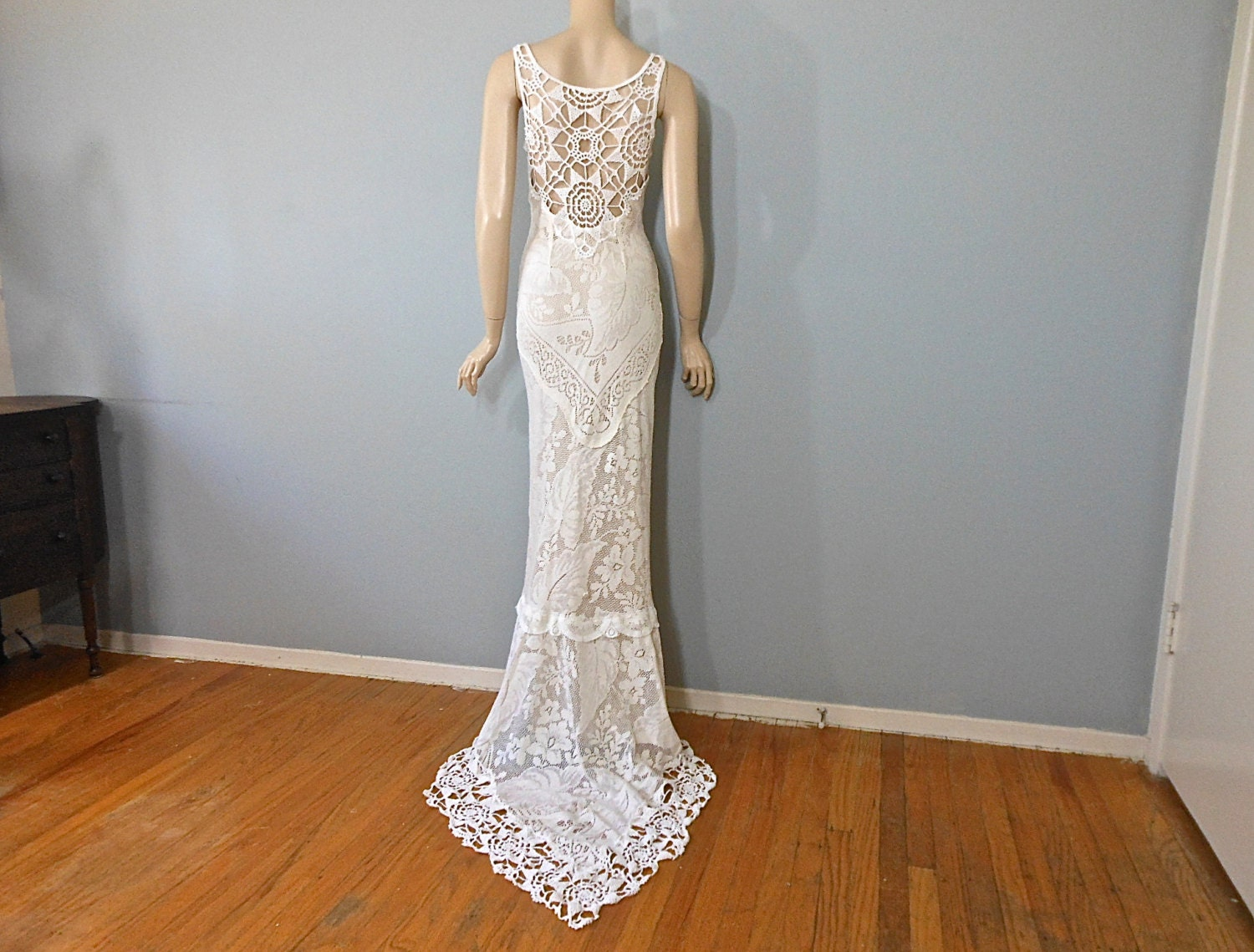 Handmade hippie wedding dress crochet boho wedding dress lace for Crochet lace wedding dress pattern
