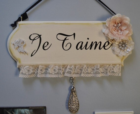 French Je Taime Wood Sign.  Decoration.  Valentine's Day, Wedding.  ECS.