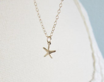 Tiny gold starfish necklace, modern delicate jewelry SALE