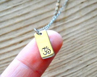 Om Sterling Silver Rectangular Charm Necklace