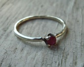 """Reserved for Carly-  Sterling Silver 3mm """"pinched"""" Shank ring with 3mm Natural Ruby in Traditional 4 prong setting"""