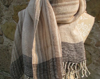 Linen Flax Scarf (Shawl)- Handwoven- Made From Organic Hand Dyed Linen Yarn- Oversized Linen Scarf, Stole, Wrap, XL scarf