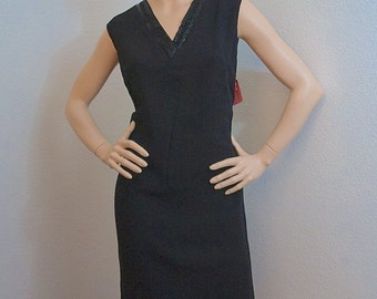 Vintage 60s Black Shift Dress with Beaded Neckline / 1960s Celanese Rayon Jumper Dress / Little Black Dress - Medium Large